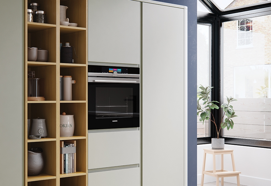 Zola Gloss Dust Grey Contemporary Kitchen Wall Units
